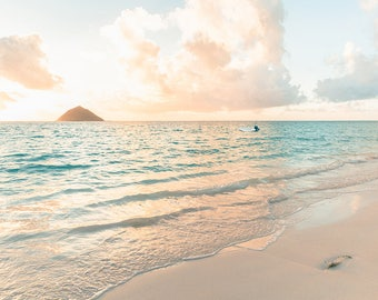 Aqua and Peach Beach, Seascape, Sunrise Photography, Hawaii Art, Calming Print, Beach Bathroom Decor, Soothing Beach Scene, Dreamy Art Print