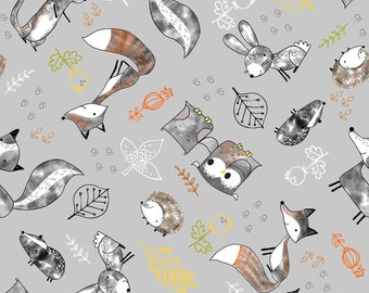 Just Friends by Fabric Editions - Grey Tossed Animals - Cotton Woven Fabric