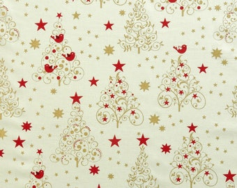 Christmas Tree Cotton Fabric, Christmas Fabric, Xmas Fabric, Gold Metallic Christmas Fabric - 100% Cotton