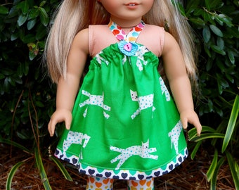 AG Doll American Girl Doll Kitty Cat Halter Dress and Heart Legging 3 Pc.Set by Suzwrightdesigns