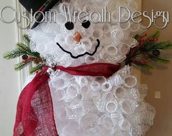 Snowman Christmas Wreath. White deco mesh snowman with a hat. XL size.