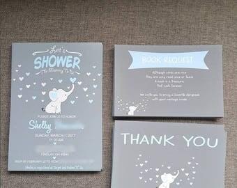 ELEPHANT baby shower invitation set (Invite+Diaper Raffle+Book Request+Thank You Insert) - FREE ENVELOPES - Blue