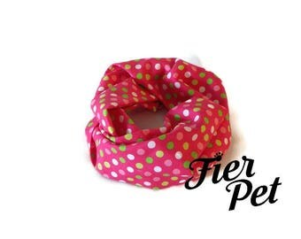 dog infinity scarf, multidot pink ,fier pet, dog accessories, infinity scarf