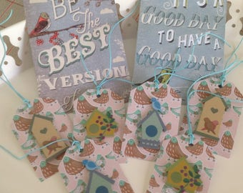 Set of 6 labels tags and two birds and birdhouses collection cards.