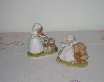 Guardian Angel Porcelain Figurines with Raccoons and Owls