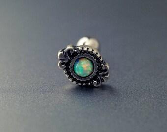 tragus earring 16g tragus piercing tragus stud silver opal conch piercing conch earring tribal ~2E28S