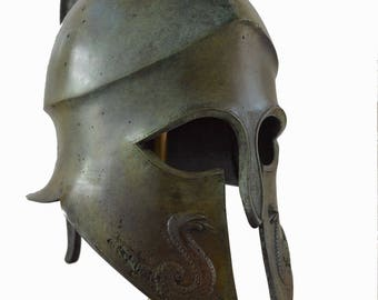 Spartan Great bronze real size high quality snake carved helmet