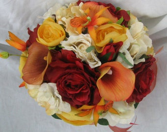 Fall wedding bouquet orange burgundy ivory , yellow and red