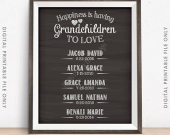 Grandchildren Sign Personalized Grandkids Sign, Custom Gift for Grandparents Gift, Grandma, Grandpa, PRINTABLE Chalkboard Style Digital File