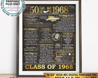 """Class of 1968 Graduation 50th Reunion 1968 Graduating Class, Flashback 50 Years Instant Download PRINTABLE 8x10/16x20"""" Chalkboard Style Sign"""