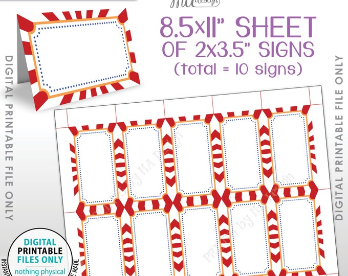 """Carnival Theme Labels, Food Labels, Buffet Cards, Table Tent Menu Labels, Circus Theme Birthday Party, Printable 8.5x11"""" Instant Download"""