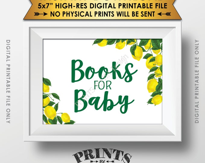 """Books for Baby Lemon Themed Baby Shower Sign, Lemon Shower, Tuscan Garden Party, Tropical, Summer, Italy, 5x7"""" Printable Instant Download"""