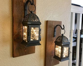 Set Of Hanging Lantern Sconces,Farmhouse Wall Decor, Lantern Sconces,  Black, Lanterns