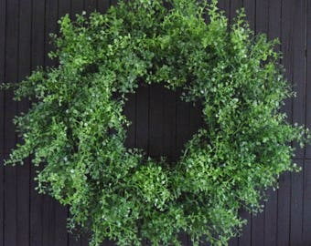 Lush Greenery Wreath, Front Door Wreath, Everyday Wreath, Farmhouse Decor, Fireplace Decor Wreath, Year Round Wreath