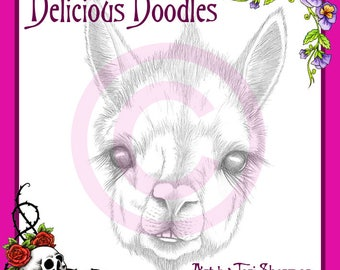 Greyscale Alpaca Sketch, Digital Stamp, Illustration, Coloring Page, Colouring Page