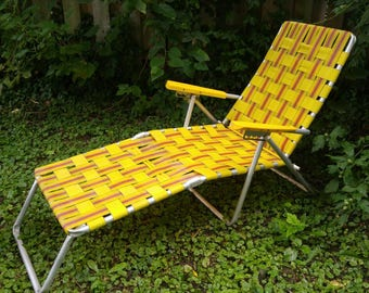 Woven Aluminum Lounge Chair / Yellow , Orange , Brown / Adjustable ,  Folding / Retro