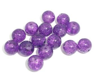 10 purple 10mm cracked glass beads