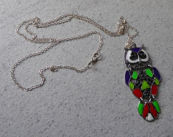 Blue white green red silver OWL pendant necklace