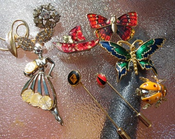 Huge Lot of 9 Vintage Brooches and Stick Pins Enamel Brooches Pins Butterfly Rhinestone