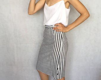 Vintage Striped High Waist Midi Skirt
