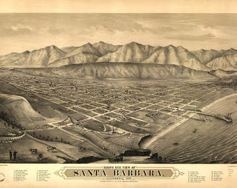 Santa Barbara CA Panoramic Map dated 1877. This print is a wonderful wall decoration for Den, Office, Man Cave or any wall.