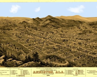 Anniston AL Panoramic Map dated 1888. This print is a wonderful wall decoration for Den, Office, Man Cave or any wall.