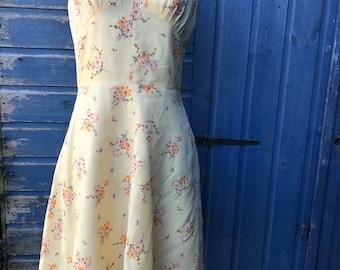 Original Sixties Yellow Flowery Shift  Dress