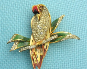 "Wonderful 1942 Coro Craft Sterling Fur Clip ""Bird on a Branch"""