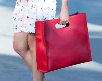 15% SUMMER SALE Red Leather Tote, Large leather bag, Leather Bag, Leather Tote, Handmade Leather Bag by EUG Fashion