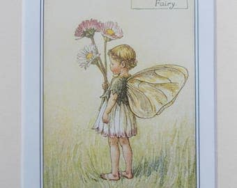 DAISY Flower Fairy, Cecily Mary Barker in 10in x 8in Ivory Mount VINTAGE 8in  x 6in  Print