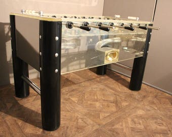 1970's Lucite and Mirror Polished Aluminum Foosball Table