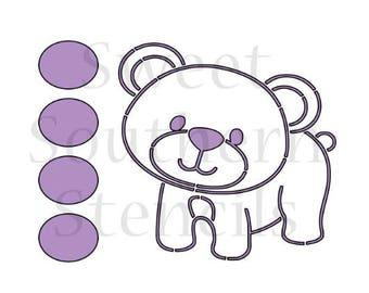 Woodland Bear PYO Cookie Stencil