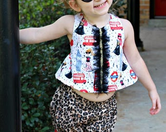 Baby Girls- Crop Top- Bubble Shorts- Toddler Girls- Tunic top- Girls- Outfit- City Fashion- London- Paris- Size 2t, 3t, 4t, 5, 6, 7, 8