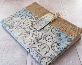 A5 Notebook Cover - Reusable Book Cover - Diary Cover - Journal Cover - Wedding Guest Book Cover - Fabric Book Cover - Patchwork Book Cover