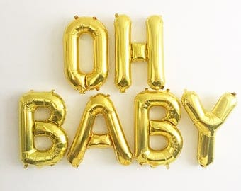 Oh Baby Gold Letter Balloons Gold Oh Baby Banner Gold Balloons Baby Shower Balloons Pregnancy Announcement Gender Reveal Oh Baby Gold