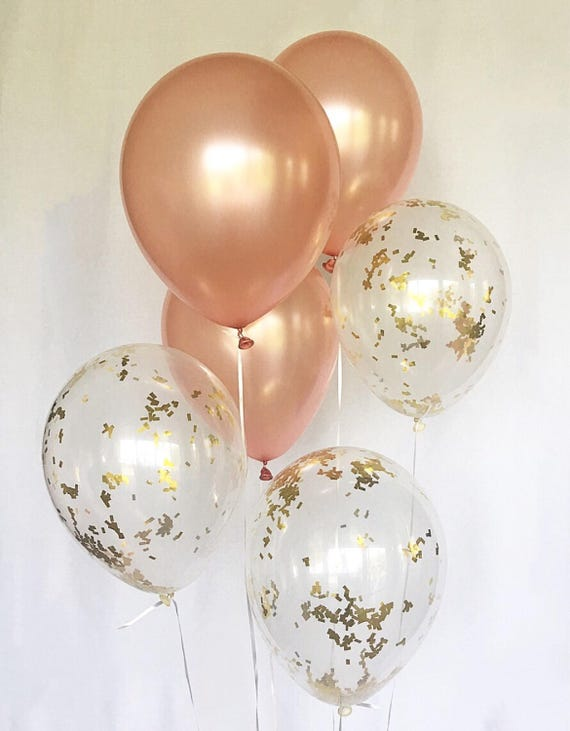 Rose Gold Balloons Rose Gold Confetti Latex Balloons Rose