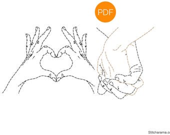 Hands in Love Embroidery Pattern • PDF Download (Iron On Transfer Available)