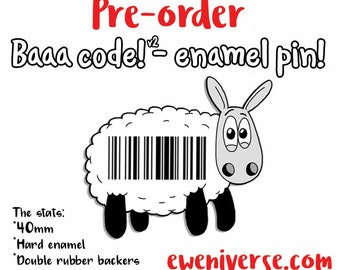 PRE-ORDER*, Baaa code! (v2), Cute sheep enamel pin, pin badge, Knitters gift, Knitting gift, lapel pin, funny badge, Sheep gift, Wool gifts
