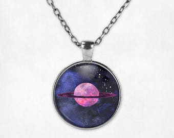 Saturn Pendant Necklace | Saturn Necklace Saturn Jewelry Space Jewelry Galaxy Necklace Watercolor Planet Necklace Science Jewelry Stars