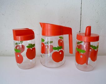 3 jars of Henkel, pitcher, sugar, pouring pot