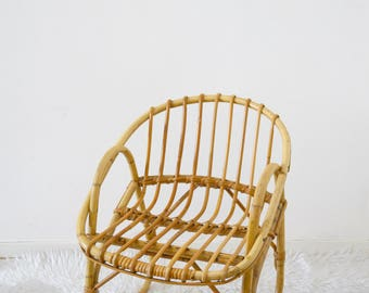 Wicker/rattan child, vintage, Chair, rattan basket armchair