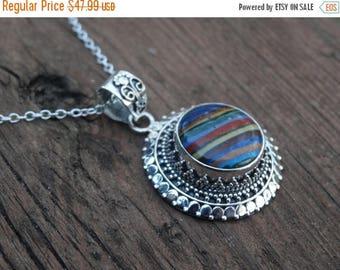 "Sale Unique Rainbow Calsilica Sterling Silver Pendant Necklace - 18"" Sterling silver Chain - Natural Stone Necklace - Boho chic Pendant"