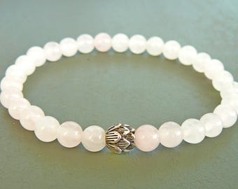 Rose Quartz Bracelet for Women Gift Meditation Bracelet Natural Rose Quartz Jewelry Sterling Silver Lotus Bracelet Healing Bracelet for her