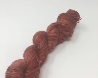 OOAK Indie Dyed Yarn on Merino cashmere Nylon MCN  red brown tonal