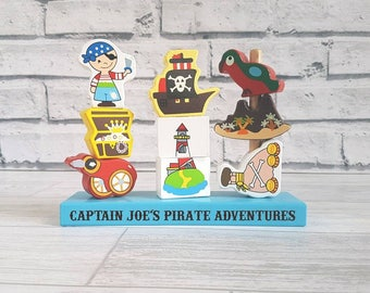 Pirate Puzzle, Stacking Toy, Pirate, Wooden Personalised Toy - 00050