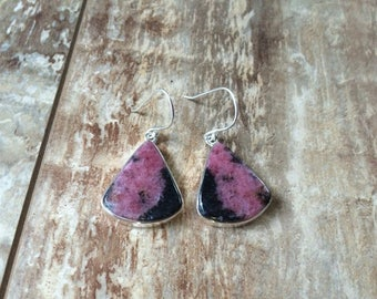 925 Sterling silver Rhodonite gemstone earrings