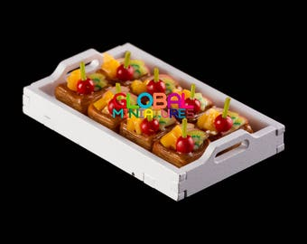 Dollhouse Miniatures Cherry and Mixed Fruit Square Puff Tart Bakery Sweets Accessory Decoration Supply - 1:12 Scale