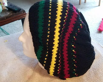 Rasta knitted slouch hat