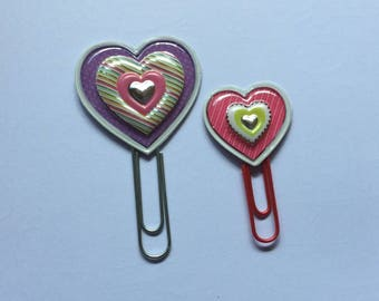 Heart planner clips, heart bookmark, planner accessories, gift idea for her, planner marker, heart paper clips, Valentine's Day, set of 2