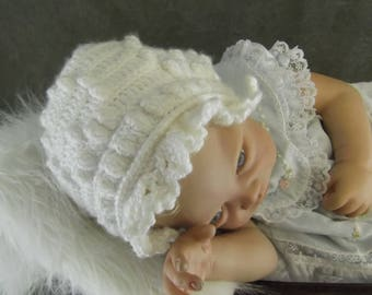 Baby Bonnet,Crochet,White,Girls,Infants,Accessory,Photo Prop,Newborn,Crib cap,3 months,